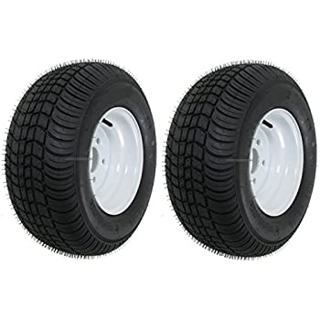 20.5x8.0-10 LRC Loadstar Bias Trailer Tires on 5 Lug White Wheels 205//65-10 Set of 2