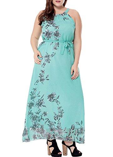 Plus Size Halloween Customes (Wicky LS Women's Floral Printed Summer Chiffon Dress Plus Size Beach Sundress Green 4X)