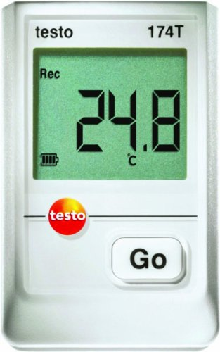 Testo 0572 1560 174T 1-Channel Mini Temperature Data Logger with Locking Wall Holder and Batteries, -22 to 158 Degree F Range, +/-0.9 Degree F Accuracy