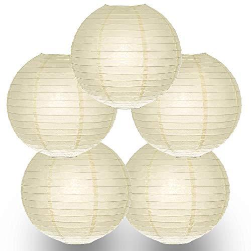 Quasimoon PaperLanternStore.com (5-Pack) 12 Inch Ecru Beige Round Paper Lantern, Even Ribbing, Hanging Decoration ()