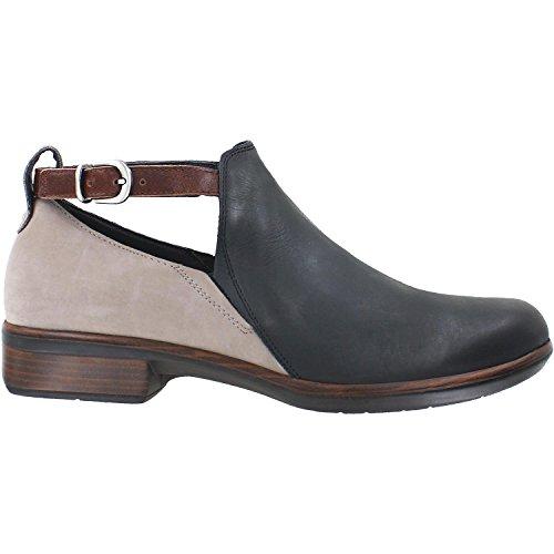 NAOT Women's Kamsin Jet Black Leather/Stone Nubuck/Luggage Brown Leather 39 M EU M