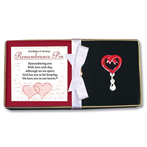 BANBERRY DESIGNS Bouquet Pin Memorial and Sympathy Red Ribbon Heart with Teardrop Jewel