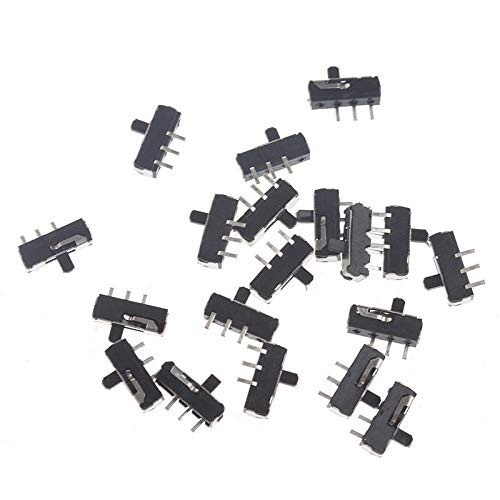 Color: Silver 20Pcs DC 0.5A 50V SPDT Position slide switch 1Pole 2Throw 3 Pin PCB Panel Miniature Vertical Slide Switch