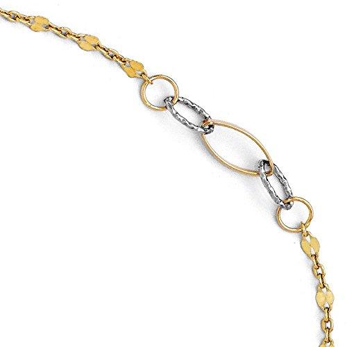 Or bicolore 14carats poli et texturé Bracelet de cheville avec 2,5cm ext-25cm