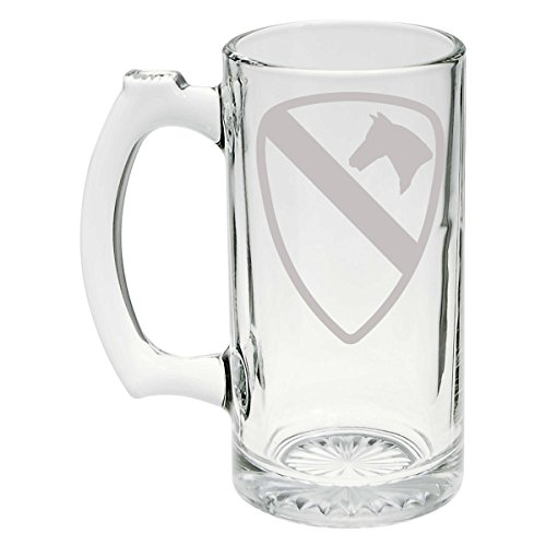 (US Army - 1st Cavalry Division SSI Patch Etched Stein Glass 25oz,)