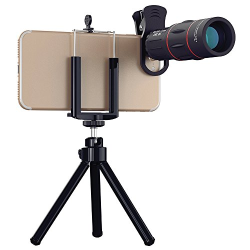 18x25 Monocular Telescope, 1000m Zoom Phone Camera Lens High Power Prism with Tripod Clip for Game Concerts Bird Watching Hunting Camping Travelling Wildlife Secenery, Universal for All Phones