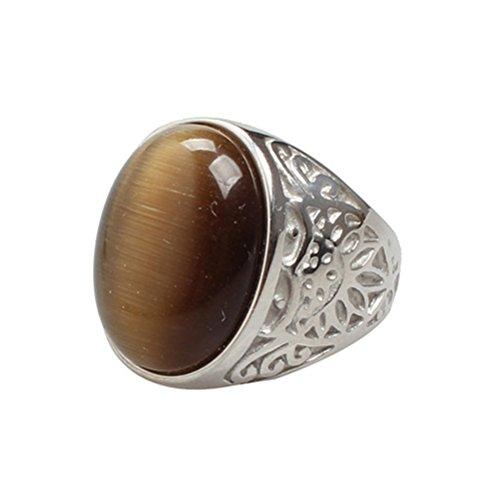 Oakky Jewelry Men's Stainless Steel Carved Flower Pattern Vintage Coffee Gem Stone Rings, Silver Size 7