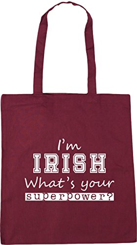 10 Irish I'm Gym Tote Shopping HippoWarehouse Burgundy Bag Superpower Beach x38cm 42cm What's Your litres f7daq5