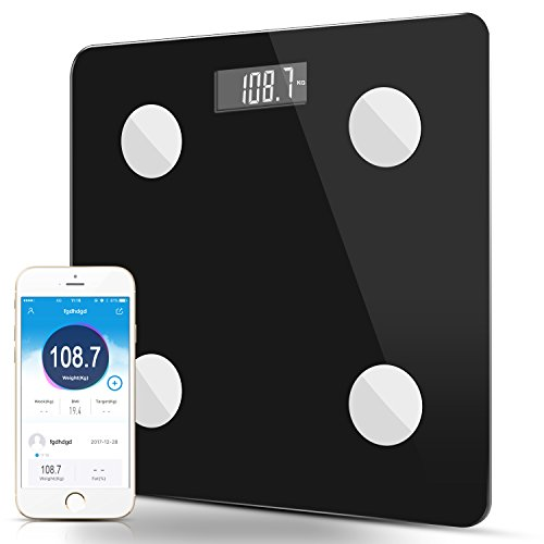 Body Fat Scale ,Digital Body Fat Analyzer Bathroom Scale Bluetooth Syncyour Weight Data with the Phone,Black Color With 2*AAA Batteries (Black) Data Colours