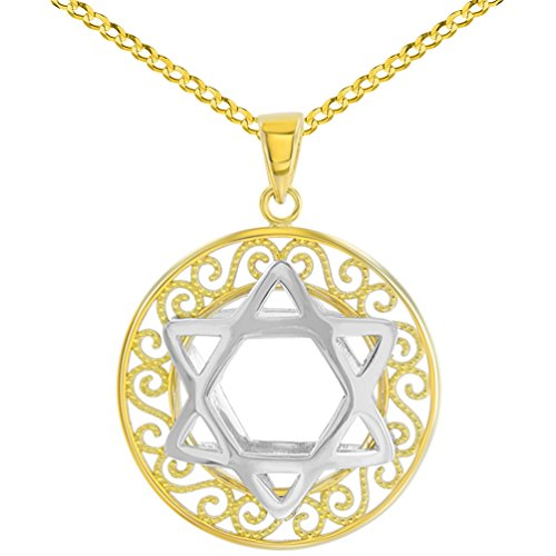 Polished 14K Two Tone Gold Round Filigree Star of David 3D Charm Pendant Cuban Necklace, (14k Gold 3d Filigree)