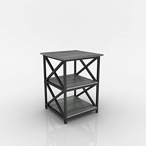 eHomeProducts Weathered Grey Oak Finish Metal X-Design Chair Side End Table with 3-Tier Shelf
