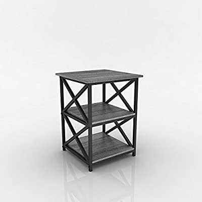 Weathered Grey Oak Finish Metal X-Design Chair Side End Table with 3-tier Shelf - Finish: Weathered Grey Oak and Black 3-tier of shelves to store books, magazines, or home accent and decor Can be used as end tables, lamp tables, decorative displays tables, or simply accent pieces - living-room-furniture, living-room, end-tables - 41%2B7Dfi2dXL. SS400  -