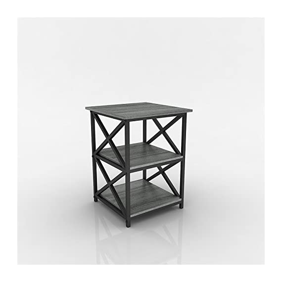 eHomeProducts Weathered Grey Oak Finish Metal X-Design Chair Side End Table with 3-Tier Shelf - Finish: Weathered Grey Oak and Black 3-tier of shelves to store books, magazines, or home accent and decor Can be used as end tables, lamp tables, decorative displays tables, or simply accent pieces - living-room-furniture, living-room, end-tables - 41%2B7Dfi2dXL. SS570  -