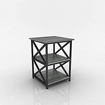 Weathered Grey Oak Finish Metal X Design Chair Side End Table With 3 Tier