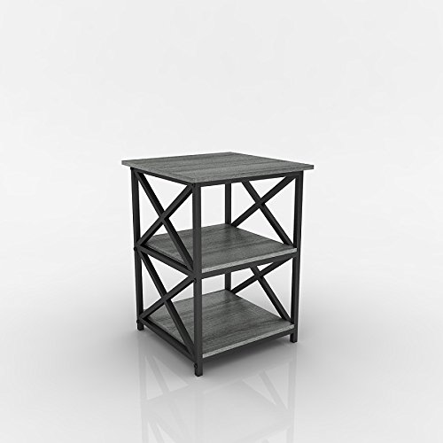 Oak Wide Side Table - Weathered Grey Oak Finish Metal X-Design Chair Side End Table with 3-tier Shelf