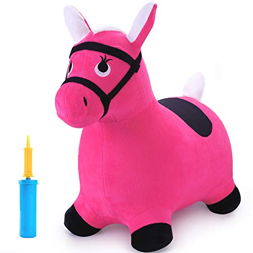 iPlay, iLearn Pink Hopping Horse, Outdoors Ride On Bouncy Animal Play Toys, Inflatable Hopper Plush Covered with Pump, Activities Gift for 2, 3, 4, 5 Age Year Old Kids Toddlers Boys Girls -