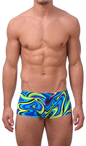Gary Majdell Sport Mens Printed Hot Body Boxer Swimsuit, Acid Wave, Small