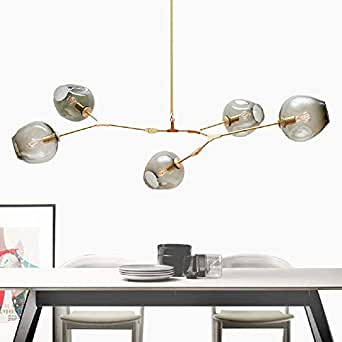 RS Lighting Nordic American Retro Creative Art Tree Branches Smoked Color Glass Bubble Ball 5-Light Chandeliers Restaurant Gold Aluminum Alloy Living Room Pendent Lights (Gold)