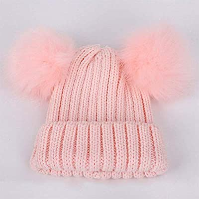 ExpertS Hats Winter Children's Pompom Knit Beanie Hat Boy Girl Solid Color Soft Cap Cute Warm Beanies