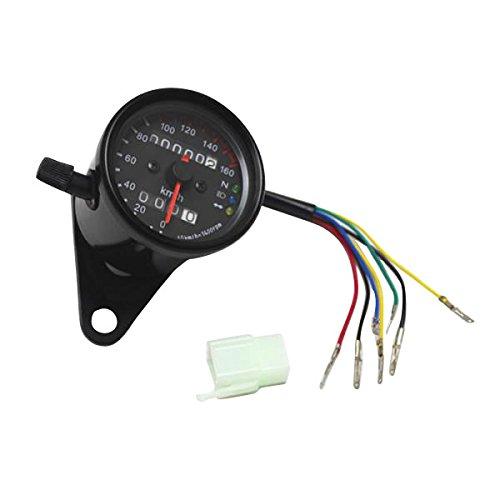 Universal Motorrad LED-Hintergrundbeleuchtung Tachometer Drehzahlmesser Geschwindigkeitsmesser Kilometerzähler - Schwarz