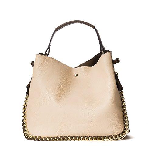 Handbag Republic Womens Fashion PU Designer Handbag Shoulder Bag Interlocking Chain Handle Stylish Tote (Cheap Designer Bags)