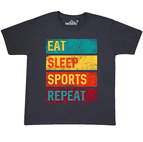 inktastic - Eat Sleep Sports Youth T-Shirt Youth Large (14-16) Charcoal 3454a