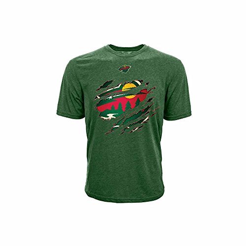 NHL Minnesota Wild Youth Ripped Youth Tee, Small, Forest Green