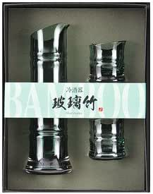 Yamako Glass Sake Bottle and Two Cups Set Made in Japan 89258