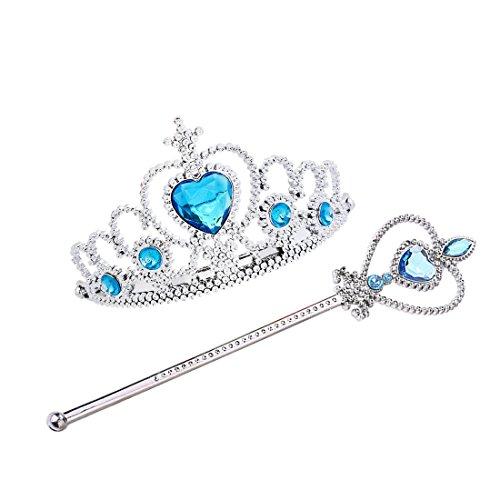 Jeassi Princess Crown Tiara and Wand Set – Silver Heart Jewel (Elsa Child Tiara)