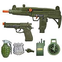 IndusBay® Army Toy Gun Role Play Set 7 Piece Military Toy Set - AK47 Combat Gun, Pistol, Hand Granade, Compass, Whistle, Batch & InterPhone - Cosplay Fancy Dress for Kids
