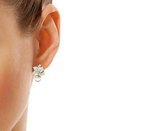 Libertini Boucle d'oreille argent 925 plaque or Jaune serti de Diamant et Perle