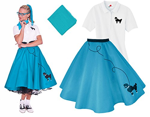 Hip Hop 50s Shop Adult 3 Piece Poodle Skirt Costume Set Teal Small