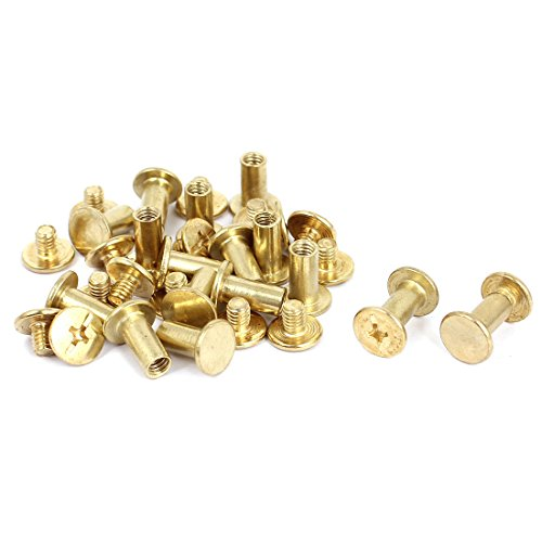 M5x10mm Brass Plated Binding Screw Post for Leather Purse Belt 17 Pcs (Brass Screw Post Binding)