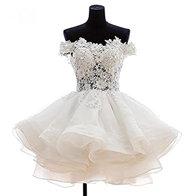 Women's Off The Shoulder Organza Short Ball Gown Prom Homecoming Dress Plus Size With Appliques 520