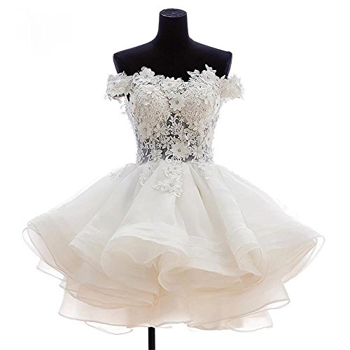 (Women's Off The Shoulder Organza Short Ball Gown Prom Homecoming Dress Party Dresses 520 White-12)