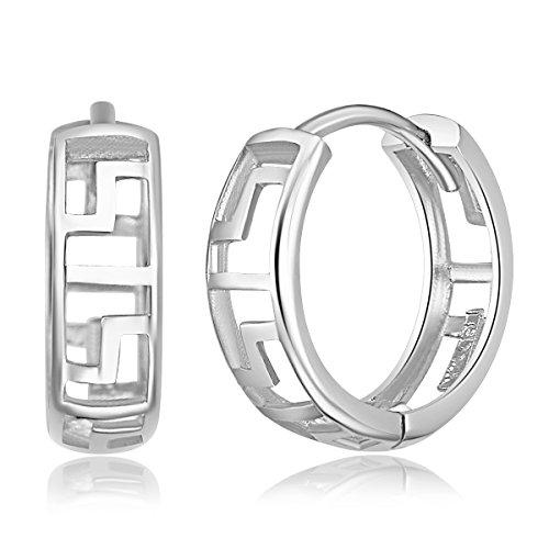 14k White Gold 4mm Thickness Greek Key Huggies Earrings (12 x 12 ()
