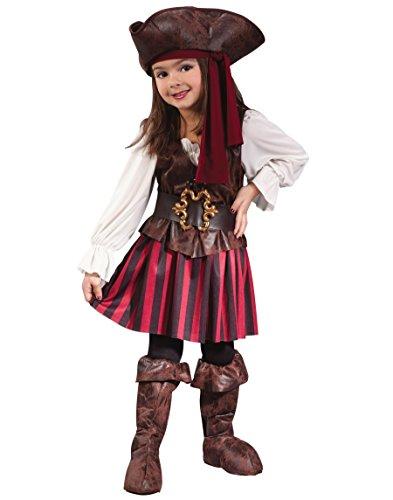 Fun World Baby Girl's Toddler Girl High Seas Buccaneer Costume, Brown/White, Large (3T-4T)]()