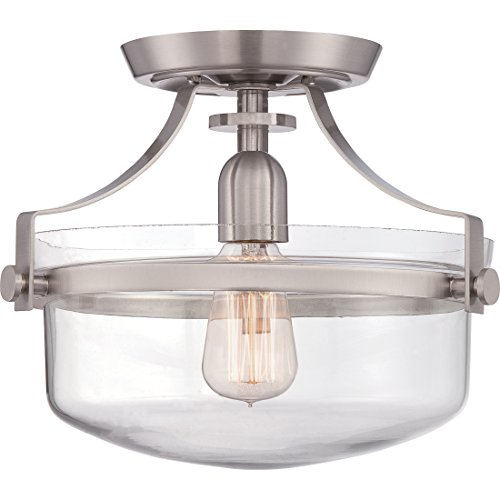 1 Semi Mount Flush Light (Quoizel UPPS1713BN One Light Uptown Penn Station Semi-Flush Mount-Brushed Nickel, Small)