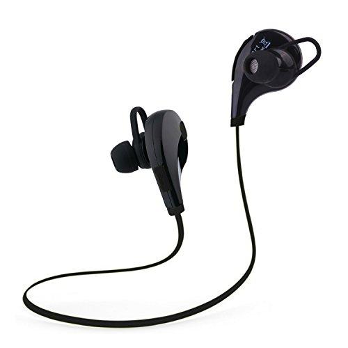 Tecart Racer A1 Bluetooth Headphones Wireless In-Ear Sports Earbuds w/Built-in Mic Sweatproof Headsets HD Stereo Noise Cancelling Headphones (BLACK) (Virtual Dj Interface)
