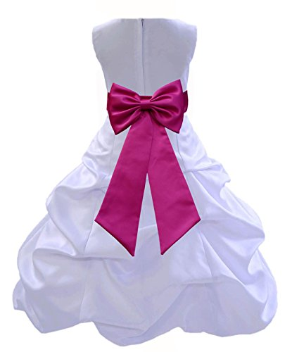 Wedding Pageant White Flower Girl Dress with Tiebow 808t 6