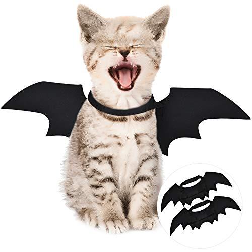 Boao 2 Pack Halloween Pet Bats Wings Cat Dog Pet Bat Costume Accessory, Black