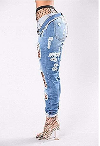 Targogo Vita Elas Strappati Jeans Stretch Pantaloni Skinny Alta Blu qrrEB