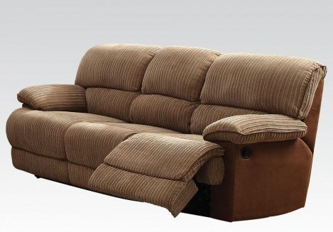 Acme Furniture Malvern Collection 51140 88″ Motion Sofa with Pocket Coil Seating Recliner Mechanism Tight Split Back Cushions and Ultra Plush Fabric Upholstery in Light