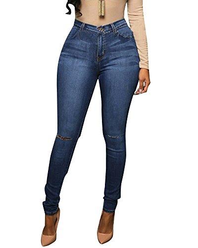 Alta Fit Donna Pantaloni Blu Magro Sottile Vita Lunghi Scuro Jeans Matita 1SA8AErIW