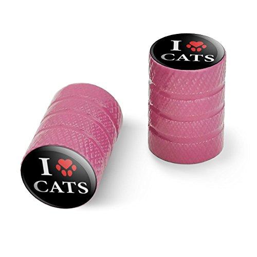 オートバイ自転車バイクタイヤリムホイールアルミバルブステムキャップ - ピンク私は足のプリントで猫の心を愛する