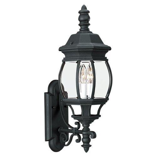2 Light Beveled Glass (Sea Gull Lighting 8820112 2-Light Wynfield Outdoor Wall Mount, Black Finish with Clear Beveled Glass)