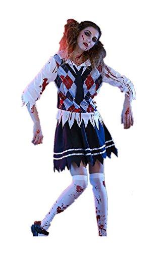 Halloween Ghost Zombie School Girl Adult Cosplay Costume Suit Dress Bloody School Uniform Outfit Cosplay (XL)