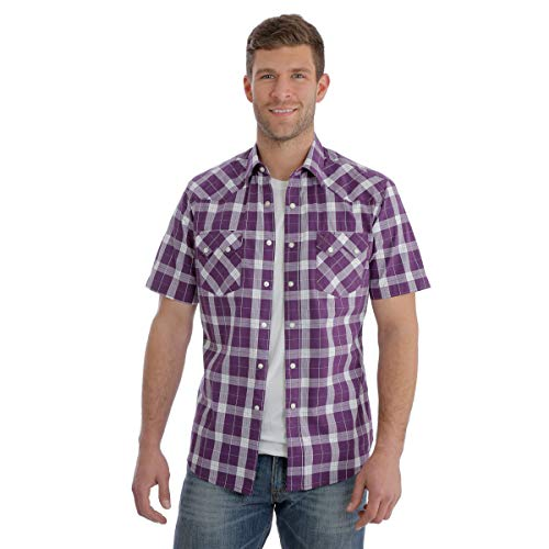 (Wrangler Men's Retro Purple Med Plaid Short Sleeve Western Shirt Purple Medium)