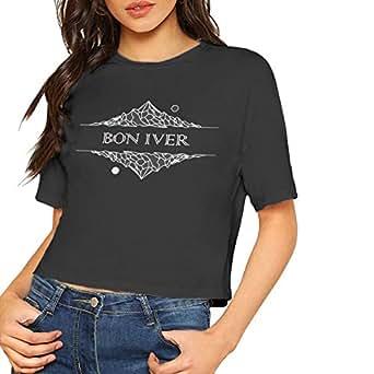 bon iver shirt crop top summer dew navel t shirt women 39 s at amazon women s clothing store. Black Bedroom Furniture Sets. Home Design Ideas