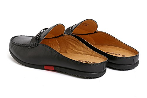 Santimon Mules Clog Slippers Men Fashion Patent Leather Slip on Shoes Casual Loafers Black 9 D(M) US by Santimon (Image #3)